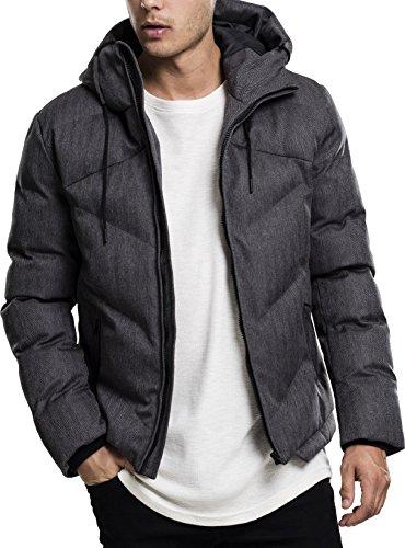 Urban Classics Heringbone Hooded Winter Jacket Giacca, Mehrfarbig (Gry/Blk 119), Medium Uomo
