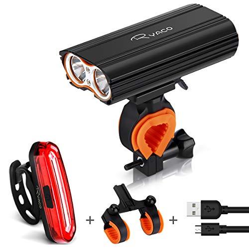 RYACO Luci per Bicicletta, Luci Bicicletta LED Ricaricabili USB, 2400 lumens 4 modalità, Luce Bici Anteriore e Posteriore Super Luminoso Luce Bici LED per Bici Strada e Montagna- Sicurezza per Notte