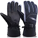 OKELAY Ski Gloves Men Waterproof, Unisex Winter Warm Thermal Gloves 3M Thinsulate,Snowboarding gloves Insulated with Zipper Pocket for Outdoor Downhill Skiing Cycling (Large)