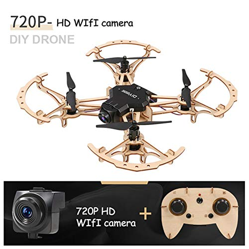 JJR/C Fai da Te FPV WiFi Modello di Drone in Legno RC Quadrirotore,720P Macchina Fotografica,in bilico/modalità Headless,Regalo del Giocattolo di assemblaggio velivoli per i Bambini
