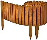 Floranica Flexibeler Beetzaun 203 cm (kürzbar) aus Holz als Steckzaun Rollboarder, Beeteinfassung, Kanteneinfassung, Rasenkante oder Palisade - wetterfest imprägniert, Farbe:braun, Größe:30 cm