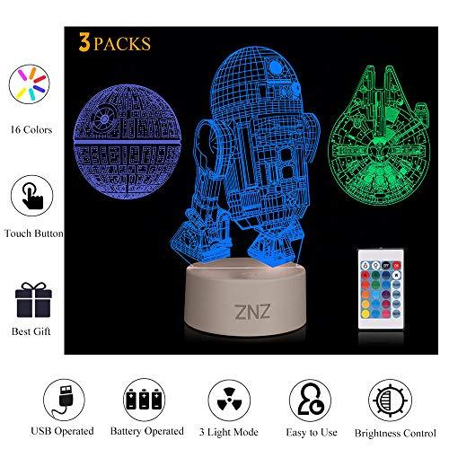 Lampada da notte a LED 3D - ZNZ 16 colori Lampada da tavolo a LED dimmerabile con telecomando per...