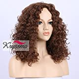 K'ryssma New Series Natural Looking Affordable Light Brown Curly Wigs for Women Best Synthetic Hair Wig uk Chocolate Color Medium Length Soft Wearing Hair Replacement 16 inches