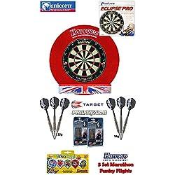 UNICORN Eclipse Pro Dartboard/Dartscheibe + Harrows Surround für Dartboards + 2 Set TARGET Phil Taylor Darts + Abwurflinie + 5er Set Flights