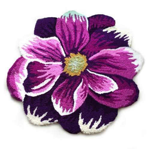 Yazi - Tappetino antiscivolo a motivo floreale 3D per divano, soggiorno; tappeto moderno, viola,...