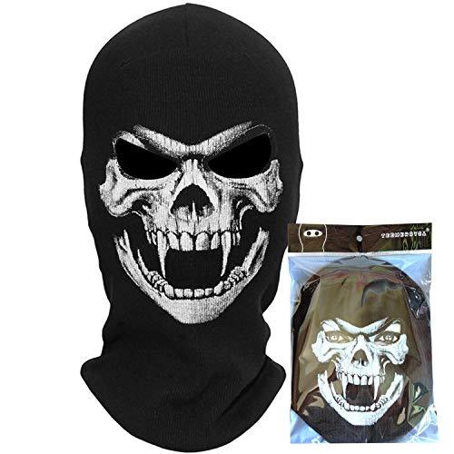 teemerryca Maschere per passamontagna nero da motociclista Inverno Cranio Maschera da sci Halloween...