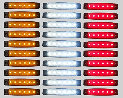 Pannello con luci SMD a 6 LED, da 24 V, di colore rosso, bianco e arancione, per luce di posizione e laterale per rimorchi e camion, confezione da 30 pezzi