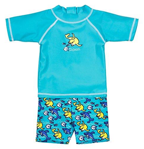 Landora® Baby- / Kleinkinder-Badebekleidung 2er Set mit UV-Schutz 50+ und Oeko-Tex 100 Zertifizierung in türkis; Größe 86/92