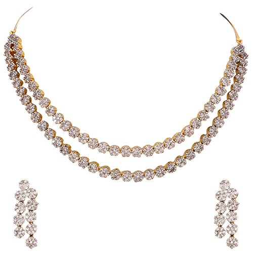 Ratnavali Jewels American Diamond CZ Gold Plated Designer Jewellery Set/Necklace Set with Chain & Earring for Girls/Women (RVA102)