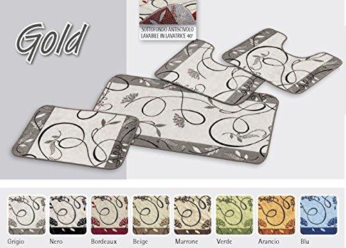 BIANCHERIAWEB Tappeto da Bagno Disegno Gold 55x120 Grigio