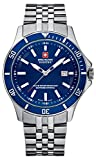 Swiss Military Men's Quartz Watch with Blue Dial Analogue Display and Silver Stainless Steel Bracelet 6-5161.7.04.003