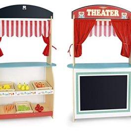 Grande Giocattolo Teatro Delle Bambole Per Bambini Teatrino In Legno Sipario e Negozio Mensola Per G