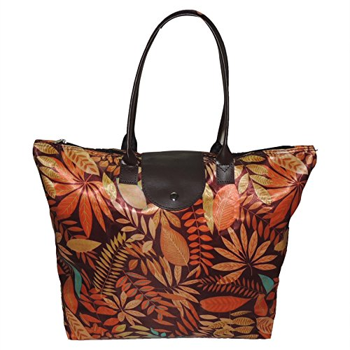 SHOPATHON INDIA Women's Nylon Multipurpose Strong Folding Printed Waterproof Shopping Hand Bag (Multicolour, FPSB00)