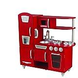 KidKraft 53173 Cocina de juguete con diseño Vintage de madera para niños con teléfono de juguete incluido - Rojo