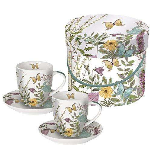 PPD Juego de 2 Tazas de Cafe Espresso con Caja Regalo Motivos Florales y Mariposas (Kensington Garden)
