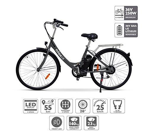Nilox E Bike X5, Bicicletta Elettrica City Bike a Pedalata Assistita, Ruote 26'', Velocità 25km/h,...