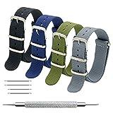 Cinturino Orologio 4 Pacchetti 18mm 20mm 22mm Balistico Cinturino Nato Cinturino in Nylon con Bar Primavera Link Pin Remover Strumento (18mm, Black+Army Green+Smoke Grey+Navy Blue)
