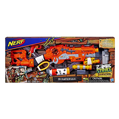 Nerf Zombie Strike Scravenger 12-Dart Blaster, Tactical Light, Barrel Extension, Scope, 26 Darts & More