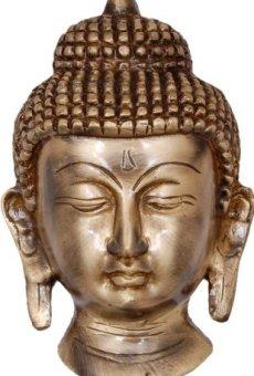 Dos bigotes latón de Buda cara colgante de pared marrón
