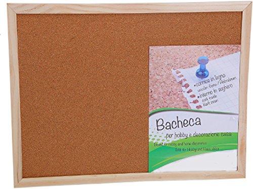 Lavagna/bacheca promemoria, in sughero, per puntine, cornice in legno neutro, cm 30x45