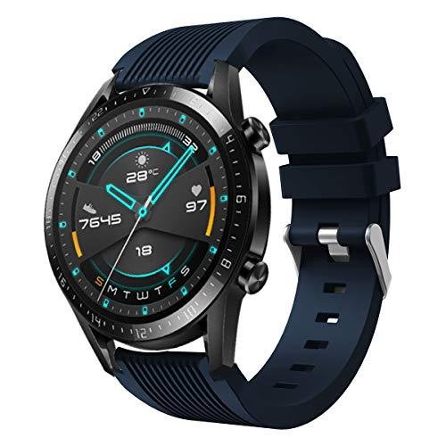 SPGUARD Cinturino Compatibile con Cinturino Huawei Watch GT 2 46mm, Cinturino di Ricambio in Silicone Morbido da 22 mm per Huawei GT 2/Huawei Watch GT/Active-Blu