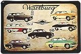 Blechschild Wartburg Modellübersicht Ostalgie DDR Auto 20 x 30 cm Reklame Retro Blech 16