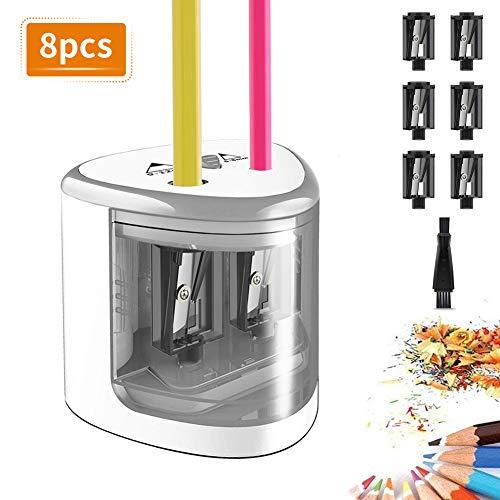 TOPERSUN Elektrischer Anspitzer 8pcs automatischer Bleistiftspitzer elektrisch für Kinder 6-12mm Doppellöcherdesign mit 6 Klingen für Büro Klassenzimmer und Zuhause