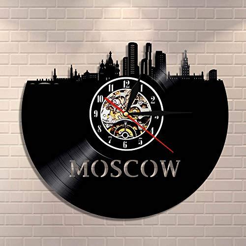 Fare clic su Luci notturne Architettura russa Arte da parete Mosca Decorazione da parete Orologio da parete in vinile retrò Orologio da parete Skyline di Mosca Vista sulla città Russia Viaggi Regal