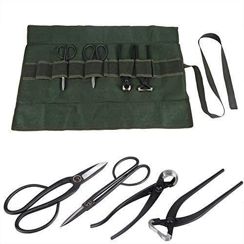 Kit de herramientas Bonsai, 4 piezas Tijeras de corte de rama Alicates Herramientas de corte de jardín Heavy Duty con piedra de afilar en bolsa enrollable