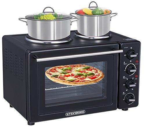 9in1 Mini Backofen 35 Liter mit Kochplatten | Umluft | Pizzaofen | elektrischer Drehspieß | 3100 Watt | 2 separat regelbare Kochplatten | 100°C-250°C | Krümelblech | Minibackofen |