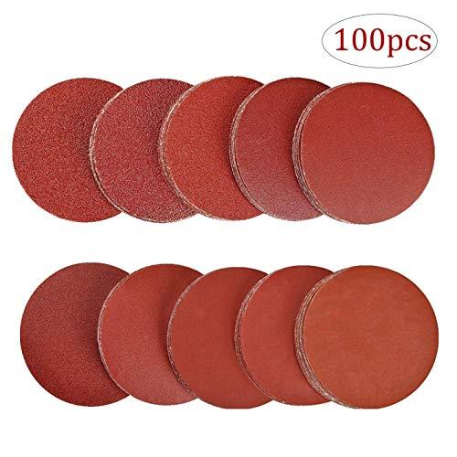 Disco de Lija - WENTS 100 piezas 125 mm Grano Cada Discos de Pulir Velcro Recambios de lijas Discos autoadhesivos de papel 180/240/320/400/600/800/1000/1200/1500/2000