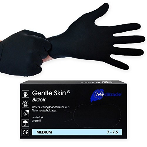 Gentle Skin Black Guanti monouso in lattice / Guanti per visita medica, neri, 100 pezzi, non...
