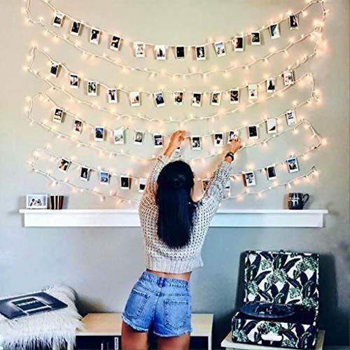 Luci Led Con Kit Per Foto JP-LED  【 5M 50 Led 】 Catena Luminosa Portafoto 【Con 25 Mollette e 10 Chiodi】Stringa Di Luci Decorative Per Camera,Sorprese,Regali,Anniversario,Compleanno,Feste