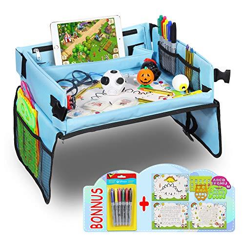 ThinkMax Vassoio da Viaggio Bambini per Auto, Auto da Toddler, aereo with storage bag, 4 Tavola Linyi + 3 Carte da Disegno + 6 Pennelli Colorati