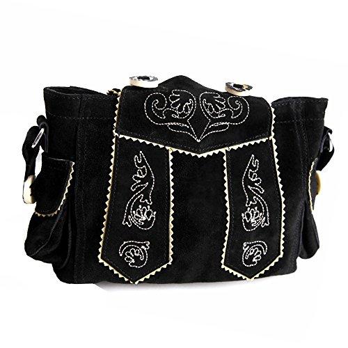 Almbock Trachten-Tasche Betti in schwarz - für Damen, modern, für Hochzeit oder Oktoberfest kaufen, in Lederhosen-Design aus Rinds-Leder