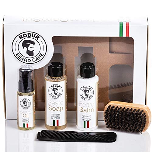 Beard Care Kit for Men, Mustache and Beard Grooming Kit Gift Set with Beard Growth Oil, Beard Washing Soap, Wooden Beard Brush and Beard Comb