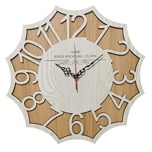 Rolanli Orologio da Parete, 40cm Orologio da Parete Silenzioso Orologio da Parete Vintage in Legno per Home Decor