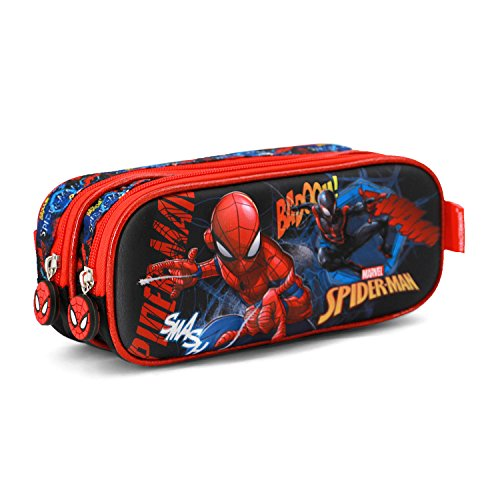 Spiderman Smash-3D Doppelfedermäppchen Astuccio, Blu, poliestere