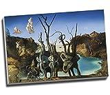 Salvador Dali Swans Reflecting Elephants Canvas Print Wall Art Picture Canvas Prints Large A1 30 X 20 Inches (76.2Cm X 50.8Cm)