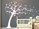 Bdecoll Romántica Pegatina Calcomanía para decorar la pared Árbol y Stars (rosa)