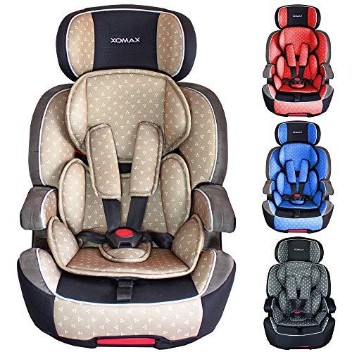 XOMAX XL-518 Seggiolino per bambini con ISOFIX I che cresce con te I 9-36 kg, 1-12 anni, gruppo 1/2/3 I Cintura a 5 punti e cintura a 3 punti I Rivestimento sfoderabile e lavabile I ECE R44/04 I beige