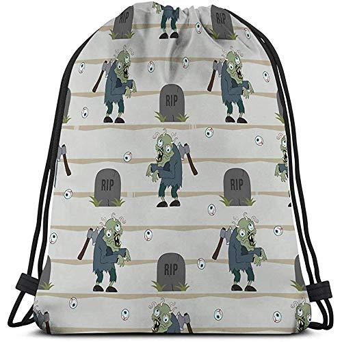 Gym Bag,Bolsa De Gimnasio,Mochila con Cordón,para Hombres Y Mujeres Zombie Hombre Personaje De Dibujos Animados Hacha Su Espalda Gusanos Cerebro Magnífico