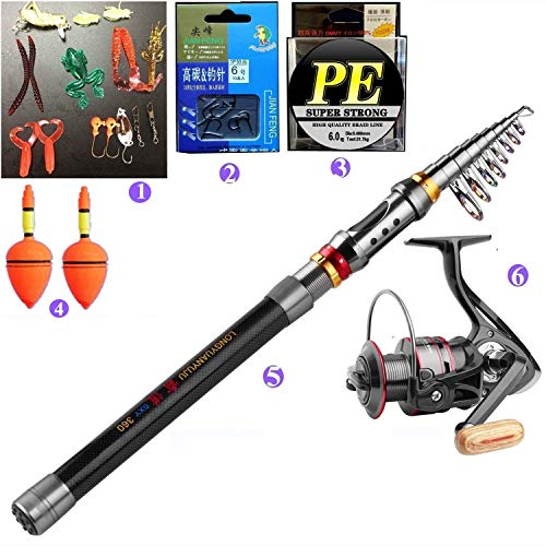 BNTTEAM 6 Set 2.1m, 2.4m, 3.0m 3.6m 99% Canna da Pesca telescopica in Carbonio e 12BB Mulinello e Esche e Linea e Ganci e galleggianti, Set Canna da Pesca (3.0M/118in/9.84ft)