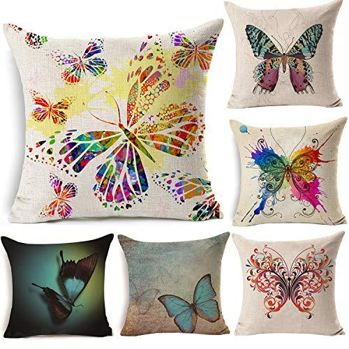 Animal cuadrado Mariposa Casa Funda De Almohada De Algodón Lino manta decorativa Funda de almohada Funda para cojín (5unidades)
