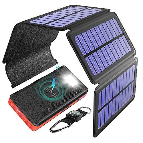 BLAVOR Cargador solar Cinco paneles Solares Desmontable 20000mah Batería Externa inalámbrico Banco de energía portátil con salida doble Tipo C Entrada SOS Linterna y kit de brújula
