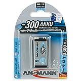 ANSMANN maxE 9V Block Typ 300 (min. 270mAh) vorgeladener 9V Akku geringe Selbstentladung Akkubatterie (1er Pack)