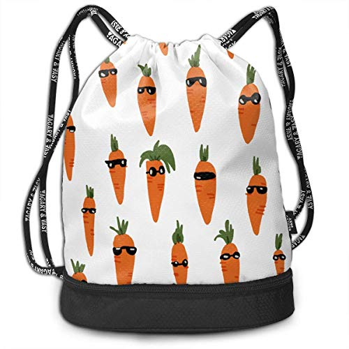 ewtretr Sacche Coulisse Zaino,Borse Sportive, Carrots Were Wearing Sunglasses Unisex Waterproof...