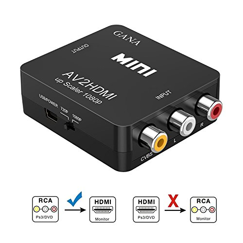 RCA auf HDMI Adapter | GANA AV auf HDMI Konverter AV zu HDMI Adapter Unterstützung 1080P mit USB Ladekabel für PC/Xbox/PS4/PS3/TV/STB/VHS/VCR/Kamera/DVD