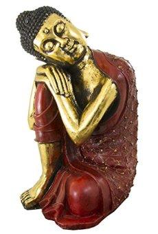Figura buda de resina en color rojo y dorado | 60 cm de alto | Portes gratis