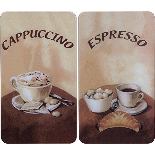 Wenko Herdabdeckplatte Universal Kaffee, 2er Set, für alle Herdarten, Gehärtetes Glas, 30 x 52 cm, mehrfarbig